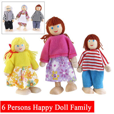 Wooden Furniture Dolls House Family Miniature 6 People Doll Kids Children Toys