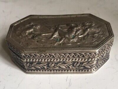 Gorgeous Antique Victorian Hand Made Chased Ornate 800 Solid Silver Pill Box