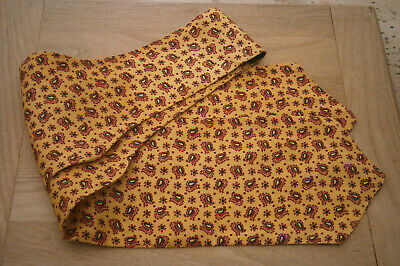 VINTAGE 1950s 50s TOOTAL YELLOW BURGUNDY & BLACK PAISLEY RAYON CRAVAT GOODWOOD