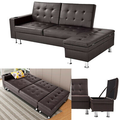 Panana Faux Leather Corner Sofa Bed with Storage Ottoman Couch Recliner Sofabed