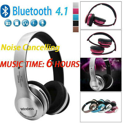 Wireless Headphones Bluetooth 4.1 Headset Noise Cancelling Over Ear With Mic US