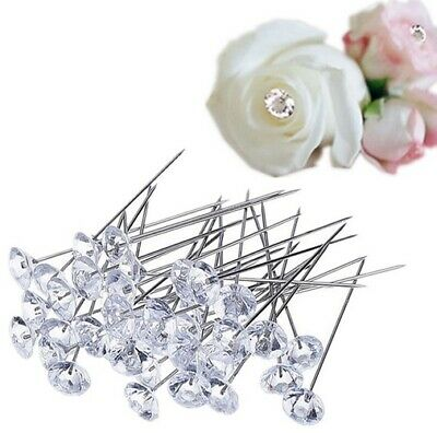 Crystal Head Pins for Floral Bouquet Pins for Wedding & Crafts - Various Sizes