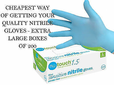 5 BOXES OF 200 (1000) NUTOUCH Blue SENSITIVE Nitrile Examination Gloves  (G1900)