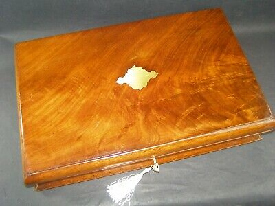 Antique Flame Mahogany Document Box Lock & Key c1890 Shaped Sides Brass Center