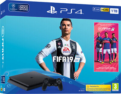 Nuova Ps4 Sony Console 1Tb Chassis F Slim Black + Fifa 19 + Ps Plus Offerta