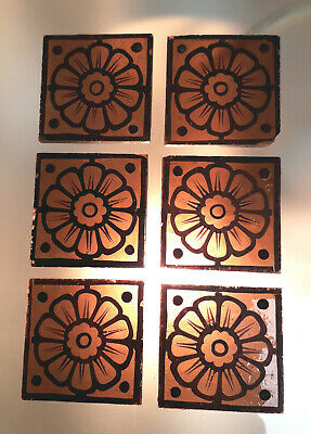 6 x early Victorian Stained Glass Feature Squares @ 44mm x 44mm