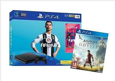 Ps4 Sony Console 1Tb Chassis F Slim Black + Fifa 19 + Assassins Creed Odyssey !