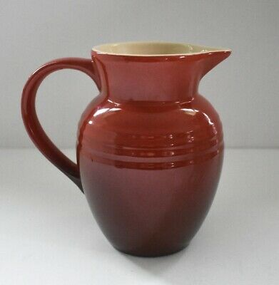 """Le Creuset Jug Pitcher Ombre Two-Tone Cerise Cherry Red .7 Liter 5 3/4"""""""