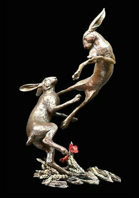 Large Hares Boxing Solid Bronze Foundry Cast Sculpture Michael Simpson (1048)