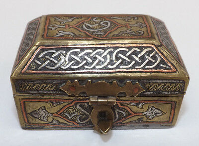 Antique 19th Century Middle Eastern Silver & Copper Inlay Brass Casket