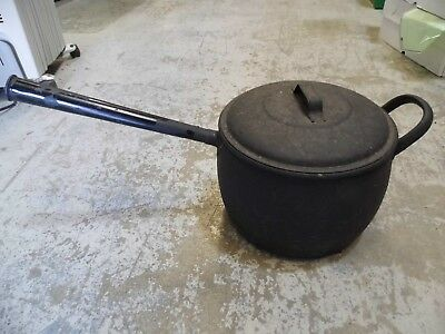 Large antique metal saucepan with lid, ideal for farmhouse kitchen