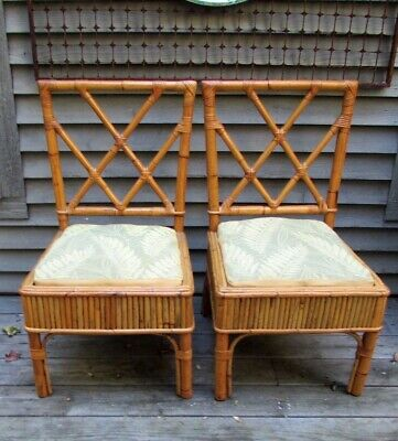Pair of Antique Hollywood Regency Bamboo Rattan Side Chairs All Original