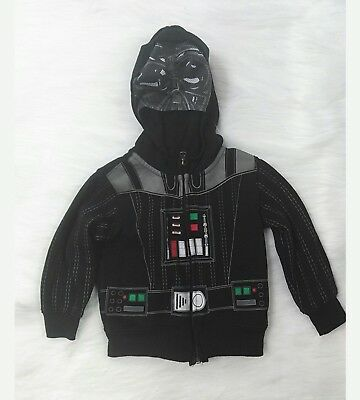 Star Wars Boys Sz 2T Toddler Hooded Jacket Black Darth Vader Long Sleeve B8