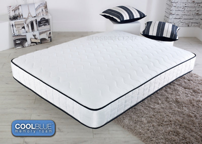 CoolBlu Memory Foam Mattress Spring 3ft Single 4ft6 Double 5ft King 6ft S.King