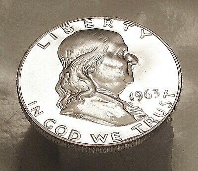 1963  Franklin  Proof   90%  Silver  > Blazing  CAMEO  Surfaces  <  #423  16