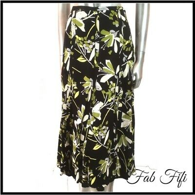 ed7746cd73 Monsoon A-Line Skirt Floral Midi Lined Panelled Black Green White Size 14