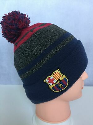 a1b25fab496065 FC Barcelona Football Club Knit Cuff Beanie Hat Pom Pom Cuffed FCB Logo One  Size