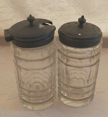 Lovely antique silver plated glass salt and mustard pots plus free salt pot