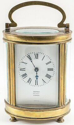 Asprey London Antique French Oval Cased Carriage Clock