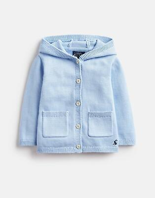 Joules Baby Character Knitted Hood Cardigan in LIGHT BLUE STEEL