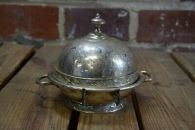 Antique Meriden Floral Engraving Silverplate Butter Dish Dome #4946