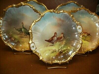 """Antique Limoges Hand Painted Game Bird Plates-Signed Muville-Set Of Five-9-1/2"""""""