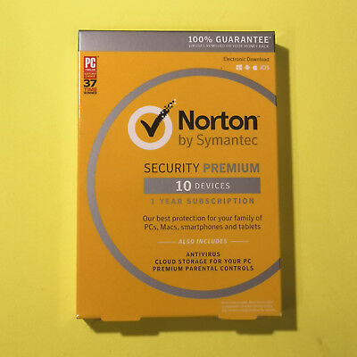 Norton Security Premium 10Devices 2018 PC/MAC/Phone Retail Box KeyCard +2019 upg