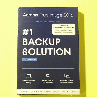 Acronis True Image 2016 + 1TB Cloud PC/Windows/Mac #1 Backup Software