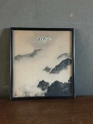 Rare Vintage Yokoyama Taikan Signed Framed Artwork Mount Fuji Japanese Art Print
