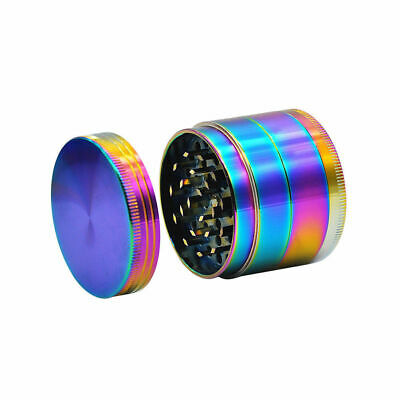 50MM Large Stainless Spice Tobacco Herb  Grinder-4 Layer Catcher Rainbow US