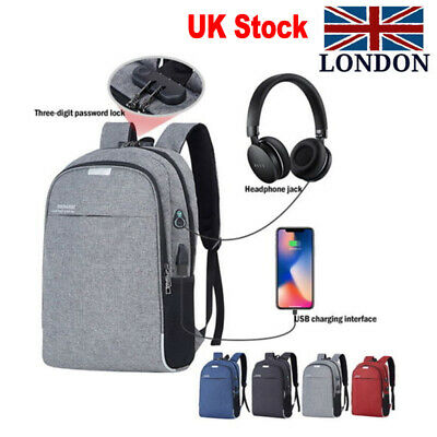 Men Women Travel Backpack Waterproof Anti-Theft USB Port Laptop School Bag UK PT