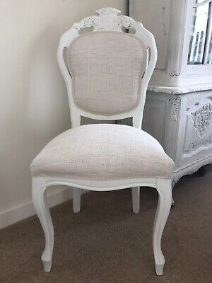 French Louis Style Bedroom Chair In Laura Ashley Dalton Fabric Off White.