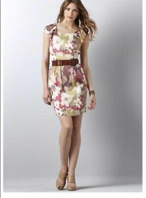 934b39321930 ANN TAYLOR LOFT XXS P Petite Floral Shift dress flutter Sleeve ...