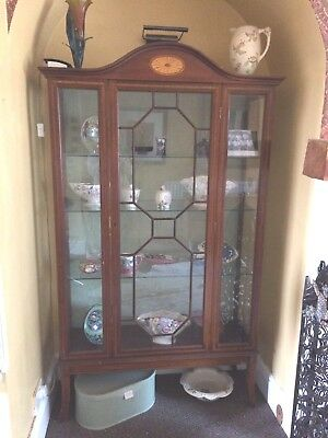 Beautiful Antique Inlaid Mahogany Display Cabinet