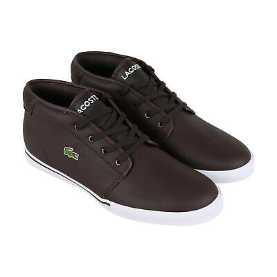258d6c7133 Lacoste Ampthill Lcr3 S Mens Brown Leather Low Top Lace Up Sneakers Shoes
