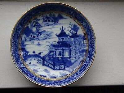 A superb Chinese blue and white 16cm dish from late 18thc. Gilded in England.