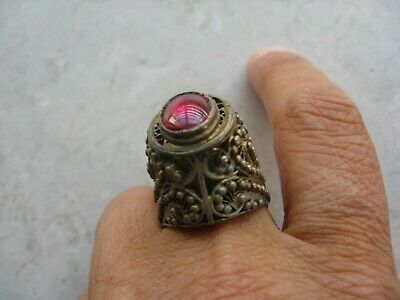 Antique/ Older Vintage Silver Tone Filigree Red Glass Dome Ring Size 9
