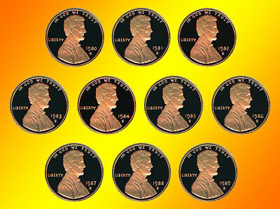 1980 - 1989 S Lincoln Proof Penny Group *10 Nice Proof Coins May23