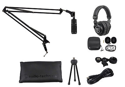 Audio Technica AT2020USB+ Podcast Podcasting Microphone+Headphones+Boom Arm