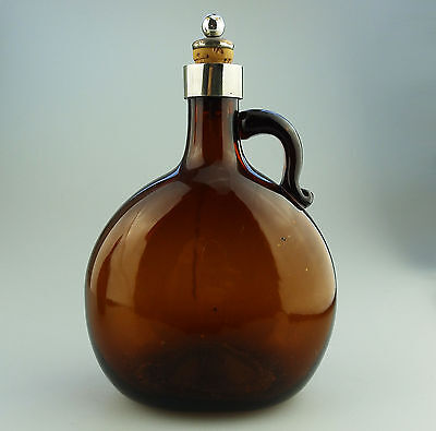 Antique English Coloured Glass a Victorian bristol amber Flask Decanter C.19thC