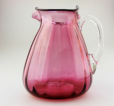 Antique English Cranberry Glass an unusual shape Victorian Jug No.2  C.19thC