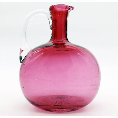 Antique English Cranberry Glass a Victorian coloured glass Flask Decanter C.19th