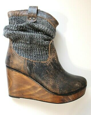beb231bc3bf7 BED STU Boots Booties Slouch Knit Wedge Platform Wood Heels Brown Leather  Size 9