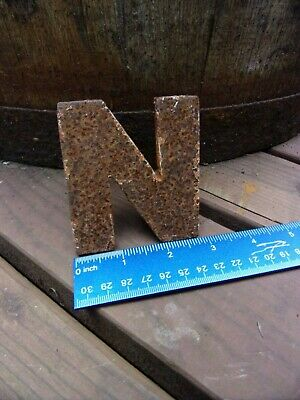 """antique rusty letter """"N"""" small size~architectural salvage~garden~3 3/4"""" X 3 1/8"""""""