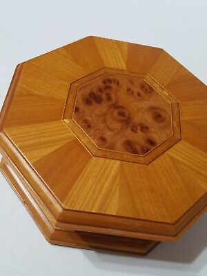 vintage jewelry wooden box, octagon shaped, burl wood inlay