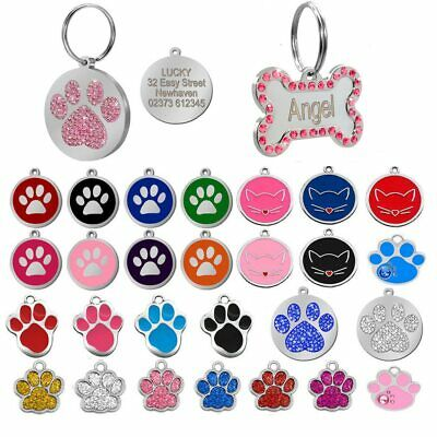 Pet Tags Puppy ID Anti-lost Stainless Steel Paw Bone Shaped Dog Collar Accessory