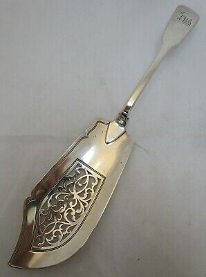 Antique Victorian Sterling silver fiddle fish slice, 1841, 138 grams, Savory