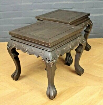 Pair of Square Chinese Hardwood Carved Plant Side Tables Jardiniere Stands
