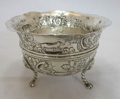 Antique Victorian Sterling silver embossed bowl, Chester 1899, 142 grams