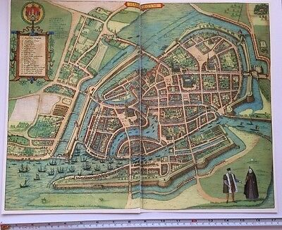 Old Antique Map of Hamburg, Germany: 1588 by Braun & Hogenberg REPRINT 1500's